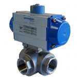 JV240022 – Pneumatically Actuated Three-Way T-Ported Stainless Steel Ball Valve