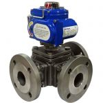 JV240034 – Electrically Actuated Three-Way T-Ported Stainless Steel Ball Valve, Flanged PN16
