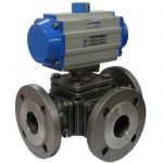 JV240039 – Pneumatically Actuated Three-Way L-Ported Stainless Steel Ball Valve, Flanged ANSI 150